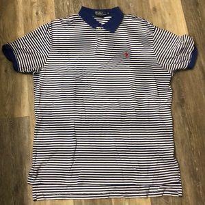 Ralph Lauren Blue & White Stripe Polo - Size XL